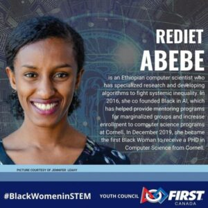 Rediett Abebe- for picture information contact comunications@firstroboticscanada.org