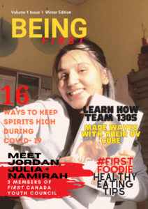 Cover of BEING FIRST Magazine with picture of young girl