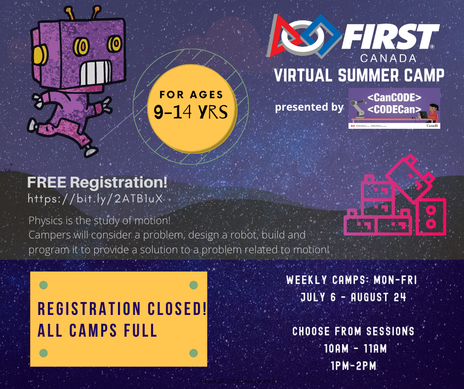 Virtual Summer Camp presented by CanCode for ages 9 to 14