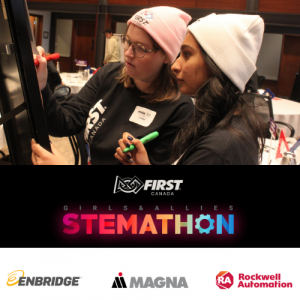 FIRST Canada Girls and Allies Stemathon sponsored by ENbridge Magna Rockewell Automation . Two girls in hats writing on a white board